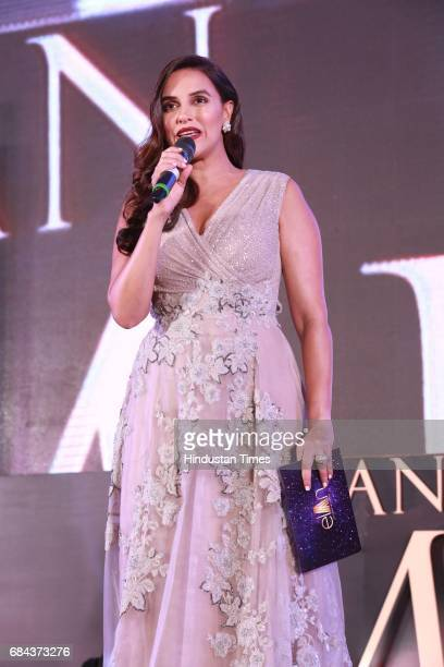 Bollywood actor Neha Dhupia during the launch of prestigious project Elan Miracle hosted by Real Estate Company Elan Group on May 13 2017 in Gurugram...