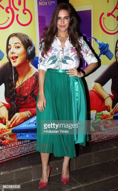 Bollywood actor Neha Dhupia during the trailer launch of movie 'Tumhari Sulu' at Cinepolis Andheri on October 14 2017 in Mumbai India Tumhari Sulu is...