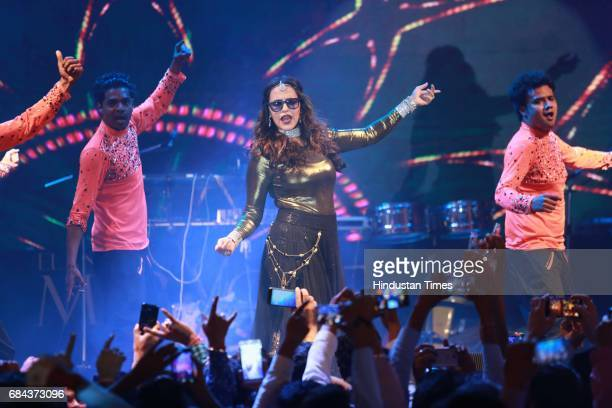 Bollywood actor Neha Dhupia performs during the launch of prestigious project Elan Miracle hosted by Real Estate Company Elan Group on May 13 2017 in...