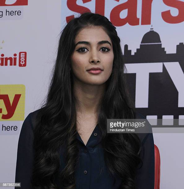 Bollywood actor Pooja Hegde during the promotion of her upcoming movie Mohenjo Daro at HT City Office HT House on August 5 2016 in New Delhi India