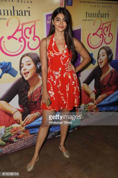 Bollywood actor Pooja Hegde during the special screening of a movie Tumhari Sulu on November 15 2017 in Mumbai India Tumhari Sulu is an Indian...