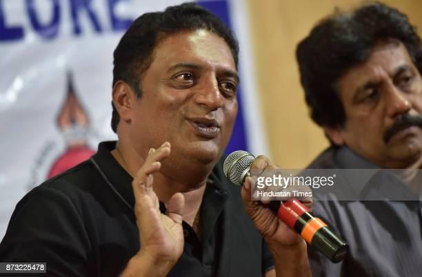 Bollywood actor Prakash Raj during a press conference at Bangalore press club on November 12 2017 in Bengaluru India