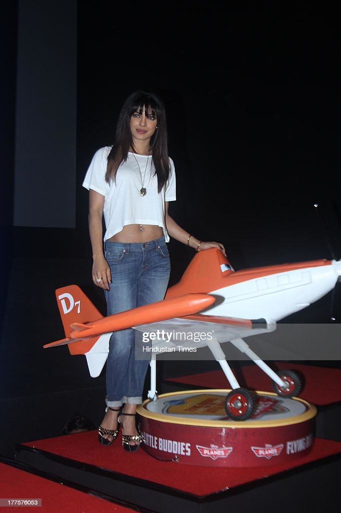 Bollywood actor Priyanka Chopra during the launch of Disney's 'Planes' at PVR, Andheri on August 21, 2013 in Mumbai, India. In the movie the actress has lent her voice to Ishani, an Indian plane that crosses flight paths with an American aircraft voiced by Dane Cook, in the 3D Disney animated feature. The film is scheduled to release on August 23 in India.