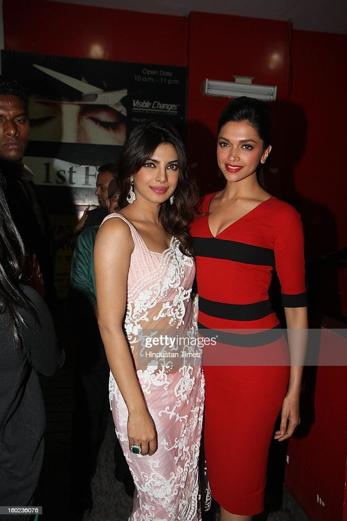 Bollywood actor Priyanka Chopra with <a gi-track='captionPersonalityLinkClicked' href=/galleries/search?phrase=Deepika+Padukone&family=editorial&specificpeople=869186 ng-click='$event.stopPropagation()'>Deepika Padukone</a> during special Screening of upcoming movie Race 2 at PVR, Juhu on January 24, 2013 in Mumbai, India.
