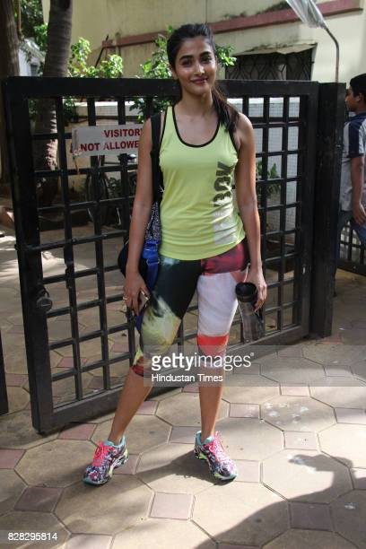 Bollywood actor Puja Hegde spotted at Gold Gym Bandra on August 6 2017 in Mumbai India