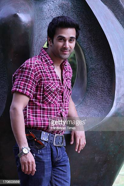 Bollywood actor Pulkit Samrat poses for camera during a profile shoot at Hotel Shangri La on June 13 2013 in New Delhi India He has done lead role in...