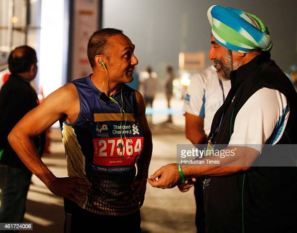 Bollywood actor Rahul Bose before the marathon begins for Half Marathon during the 12th Edition of The Standard Chartered Mumbai Marathon 2015 at...