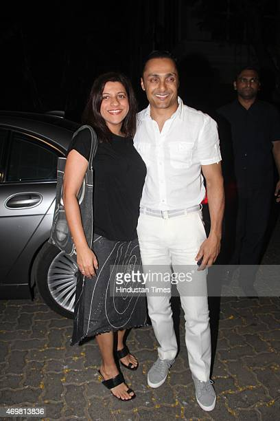 Bollywood actor Rahul Bose with Joya Akhtar arrive for actor Anil Kapoors gettogether to share the trailer of the film Dil Dhadakne Do on April 13...