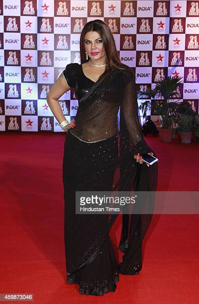 Bollywood actor Rakhi Sawant on red carpet during the function to celebrate 21 years of popular TV show 'Aap ki Adalat' hosted by senior journalist...