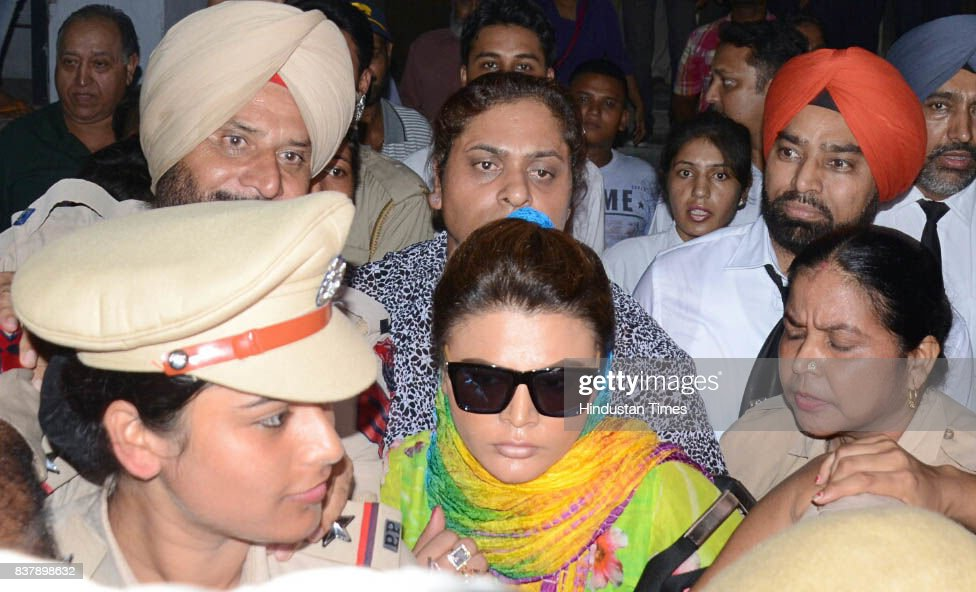 Bollywood actor Rakhi Sawant produced at district court, on August 17, 2017 in Ludhiana, India. Ludhiana Court issued a fresh arrest warrant against her in a case of hurting communal sentiments.