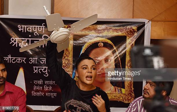 Bollywood actor Rakhi Sawant speaks during a press conference where she walked in carrying a ceiling fan in her hand and started off by saying that...