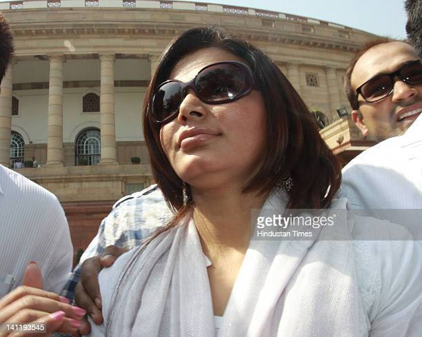 Bollywood actor Rakhi Sawant visits Parliament house during the joint session of Parliament on the opening day of Budget session at Parliament House...