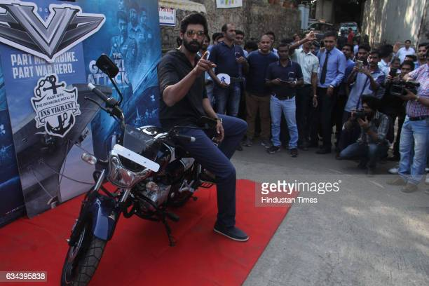 Bollywood actor Rana Daggubati buys a Bajaj V bike to promote film 'The Ghazi Attack' at Sai Service Andheri on February 7 2017 in Mumbai India