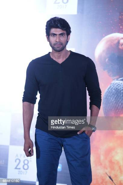 Bollywood actor Rana Duggabati during the trailer launch of movie Baahubali 2 The Conclusion at Cinepolish Andheri West on March 16 2017 in Mumbai...