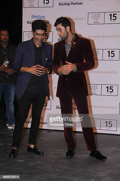 Bollywood actor Ranbir Kapoor and fashion designer Manish Malhotra during the Lakme Fashion Week Winter/Festive 2015 Day 1 on August 26 2015 in...