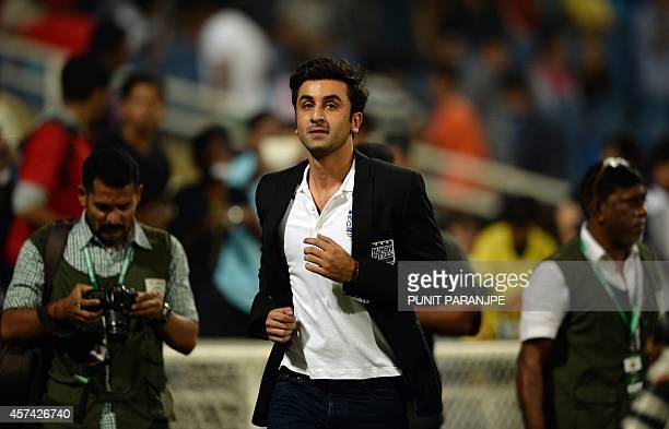 Bollywood actor Ranbir Kapoor attends the Indian Super League football match between Mumbai City FC and FC Pune City at The DY Patil stadium in Navi...