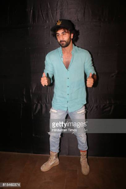 Bollywood actor Ranbir Kapoor during a special screening of movie Jagga Jasoos at Lightbox Santracruze on July 13 2017 in Mumbai India