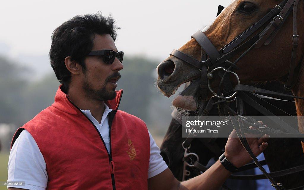 Bollywood actor Randeep Hooda during the polo match in Golden Green Golf Club, on February 7, 2016 in Gurgaon, India.