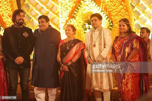 Bollywood actor Randeep Hooda Union Minister Nitin Gadkari and his wife Kanchan Gadkari with newlywed daughter Ketki and soninlaw Aditya Kaskhedikar...