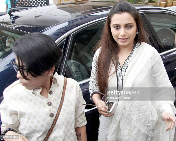 Bollywood actor Rani Mukerji during the condolence meeting organised in the memory of late filmmaker Ravi Chopra at Blue sea Hotel Worli on November...