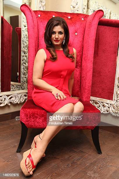 Bollywood actor Raveena Tandon attends the launch party of celebrity makeup artist Meenakshi Dutt's salon at Shivalik on June 2 2012 in New Delhi...