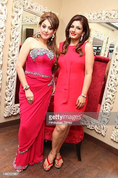 Bollywood actor Raveena Tandon with celebrity makeUp artist Meenakshi Dutt attend the launch party of celebrity makeup artist Meenakshi Dutt's salon...