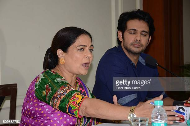 Bollywood actor Reema Lagoo along with actor Viraf Phiroz during a press conference to promote their new television show 'Naamkaran' on September 14...