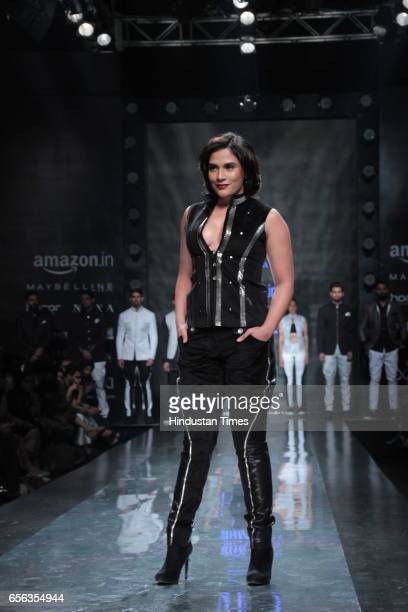 Bollywood actor Richa Chadda walks the ramp for Designer Rohit Kamra during the Amazon India Fashion Week Autumn Winter 2017 at Jawahar Lal Nehru...
