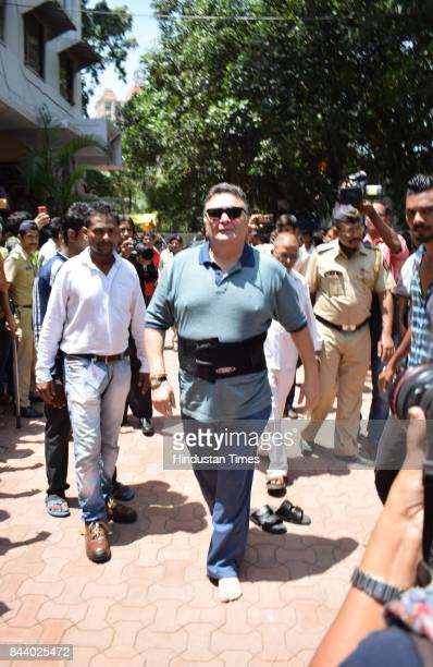 Bollywood actor Rishi Kapoor spotted at RK Studio during the last day of Ganpati festival on September 5 2017 in Mumbai India