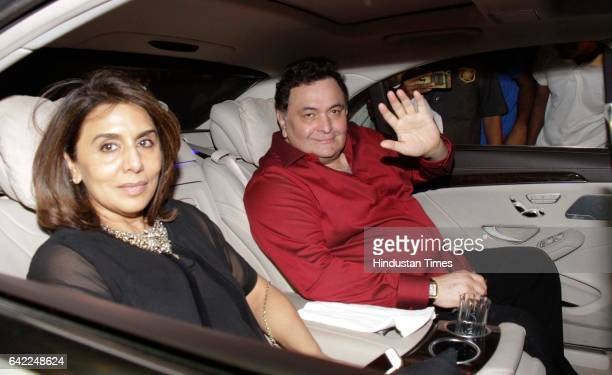 Bollywood actor Rishi Kapoor with his wife and actor Neetu Singh during the 70th birthday celebration of veteran actor Randhir Kapoor at his bungalow...