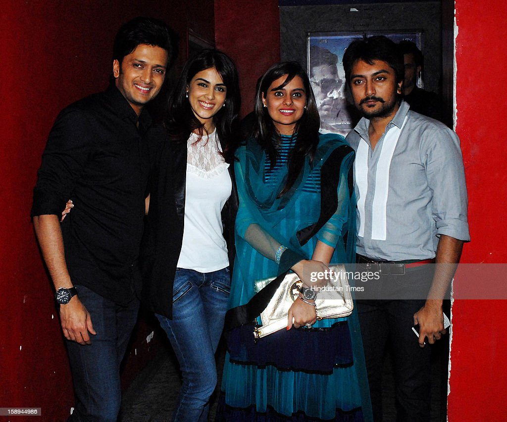 Bollywood actor Ritesh Deshmukh and Genelia Deshmukh with younger brother Dheeraj Deshmukh and his wife Honey Deshmukh attending special screening for their first home production Marathi film 'Balak Palak' at PVR Juhu on January 2, 2012 in Mumbai, India.