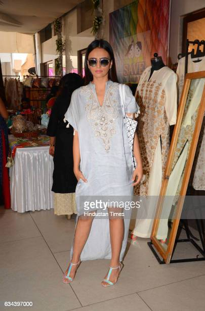 Bollywood actor Roshni Chopra during a Charity exhibition Araaish organised by Mana Shetty wife of actor Suniel Shetty at Blue Sea Worli on February...