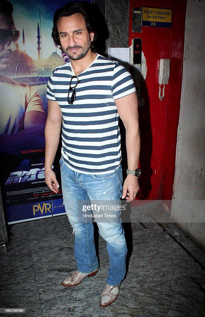 Bollywood actor Saif Ali Khan during special Screening of upcoming movie Race 2 at PVR, Juhu on January 24, 2013 in Mumbai, India.