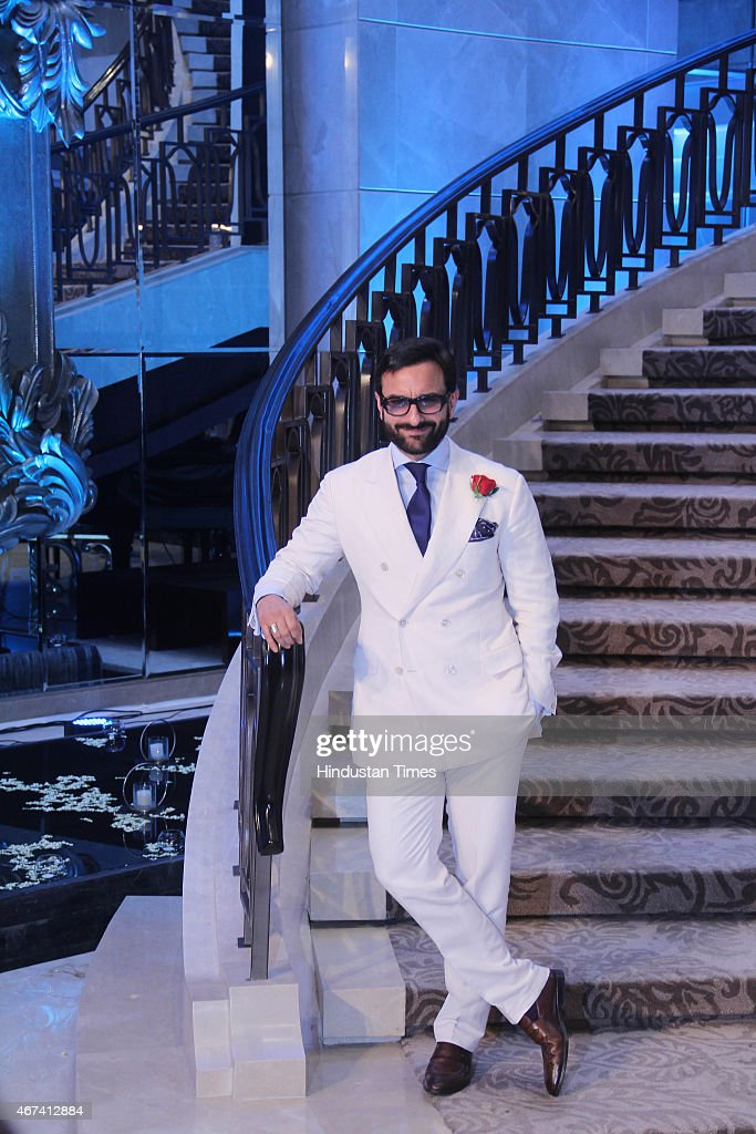 Bollywood actor <a gi-track='captionPersonalityLinkClicked' href=/galleries/search?phrase=Saif+Ali+Khan&family=editorial&specificpeople=3117032 ng-click='$event.stopPropagation()'>Saif Ali Khan</a> during the Grand Finale of the Lakme Fashion Week Summer/Resort 2015 on March 22, 2015 in Mumbai, India.