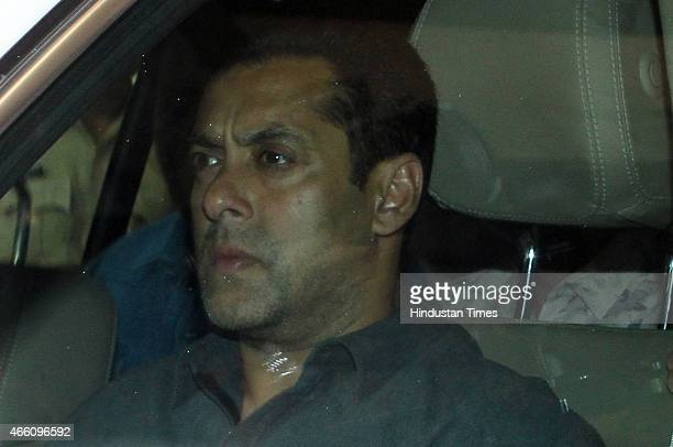 Bollywood actor Salman Khan after the hearing of his 2002 hitandruncase at the Mumbai Sessions court on March 13 2015 in Mumbai India The sessions...