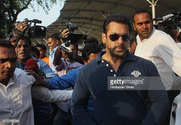 Bollywood actor Salman Khan arrives for verdict on Wednesday for hitandrun case interrupted his Bajrangi Bhaijaan shoot to fly from Kashmir to Mumbai...