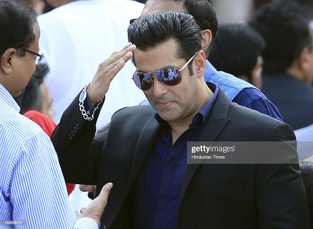 Bollywood actor <a gi-track='captionPersonalityLinkClicked' href=/galleries/search?phrase=Salman+Khan+-+Actor&family=editorial&specificpeople=558807 ng-click='$event.stopPropagation()'>Salman Khan</a> during the swearing-in ceremony for new Indian Prime Minister Narendra Modi and his cabinet ministers at Rashtrapati Bhavan on May 26, 2014 in New Delhi, India. 63-year-old Modi was sworn in as Prime Minister alongwith other 44 ministers before the largest-ever gathering at Rashtrapati Bhawan, which became a confluence of people as varied as Presidents, Prime Ministers, film stars, corporate and religious leaders.