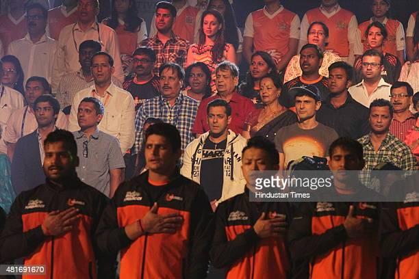 Bollywood actor Salman Khan in the crowd at Pro Kabaddi Match at NSCI Worli on July 21 2015 in Mumbai India