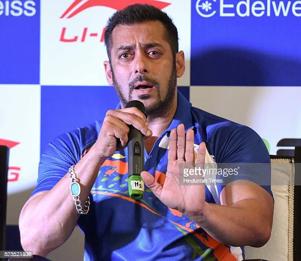 Bollywood actor Salman Khan named as Indian contingents Goodwill Ambassador for Rio Olympics 2016 during a press conference at IOA Bhawan on April 23...