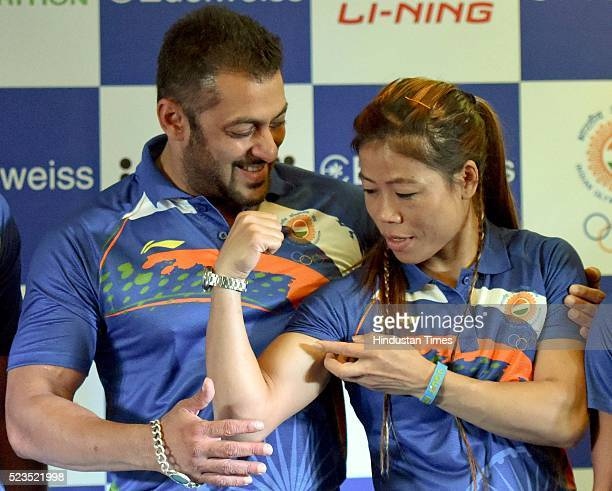 Bollywood actor Salman Khan named as Indian contingents Goodwill Ambassador for Rio Olympics 2016 with Olympic Bronze Medalist MC Mary Kom during a...