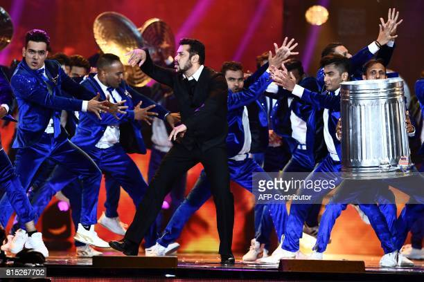 Bollywood actor Salman Khan performs on stage during 18th International Indian Film Academy Festival at the MetLife Stadium in East Rutherford New...
