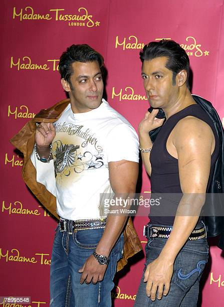 Bollywood Actor Salman Khan unveils his new waxwork figure at Madame Tussauds on January 15 2008 in London England