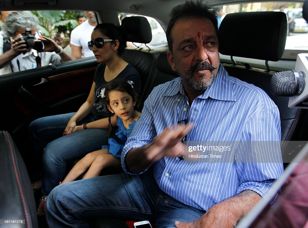 Bollywood actor <a gi-track='captionPersonalityLinkClicked' href=/galleries/search?phrase=Sanjay+Dutt&family=editorial&specificpeople=1541020 ng-click='$event.stopPropagation()'>Sanjay Dutt</a> with wife Manyata and kids before leaving for Yerawada Jail to serve the remainder of his term after 14-day-long furlough ended on January 8, 2015 in Mumbai, India. Dutt was convicted for illegal possession and destruction of an AK-56 army assault rifle during the 1993 Mumbai communal conflagration before the March 12, 1993 serial bomb blasts in the city.