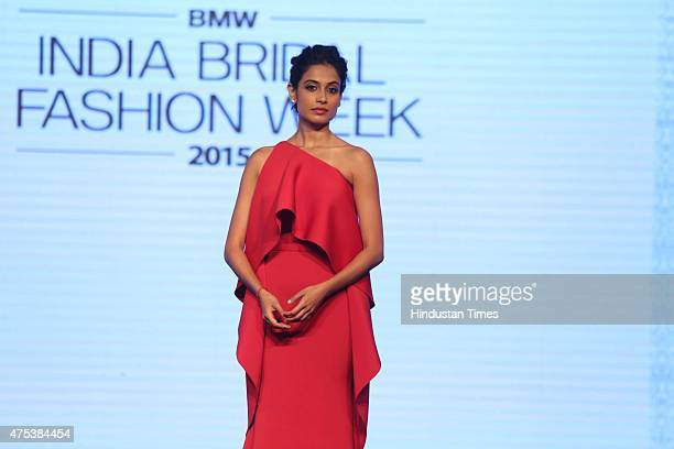 Bollywood actor SarahJane Dias during the launch of BMW India Bridal Fashion Week 2015 along with unveiling of the BMW 6 Series Gran Coupe a new car...