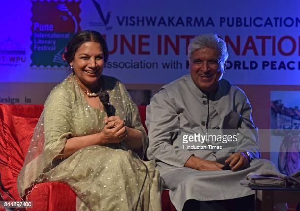 Bollywood actor Shabana Azmi and poet and lyricst Javed Akhtar during the Pune International Literary Festival at Yashwantrao Chavan Academy for...