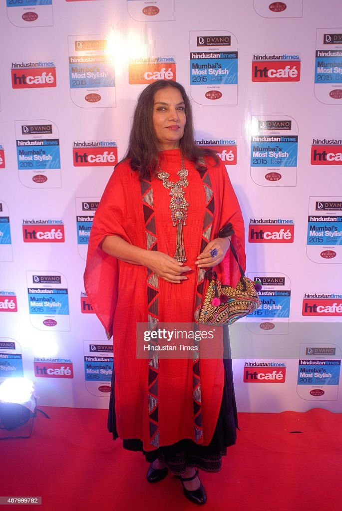 Bollywood actor <a gi-track='captionPersonalityLinkClicked' href=/galleries/search?phrase=Shabana+Azmi&family=editorial&specificpeople=565786 ng-click='$event.stopPropagation()'>Shabana Azmi</a> during the Hindustan Times Mumbai's Most Stylish Awards 2015 at JW Mariott Hotel, Juhu on March 26, 2015 in Mumbai, India.
