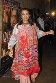 Bollywood actor Shabana Azmi during the screening of film Qissa at Light box Santracruz on February 19 2015 in Mumbai India