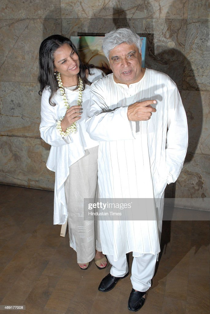 Bollywood actor <a gi-track='captionPersonalityLinkClicked' href=/galleries/search?phrase=Shabana+Azmi&family=editorial&specificpeople=565786 ng-click='$event.stopPropagation()'>Shabana Azmi</a> with her lyricist husband Javed Akhtar at the special screening of Margarita With A Straw hosted by Aamir Khan and Kiran Rao at Light Box, Santracruze on April 8, 2015 in Mumbai, India. Margarita With A Straw, previously known as Choone Chali Aasman in the Indian market & Margarita With A Straw in the International market is a 2015 Indian film directed by Shonali Bose, starring Kalki Koechlin. Kalki plays a girl with cerebral palsy.