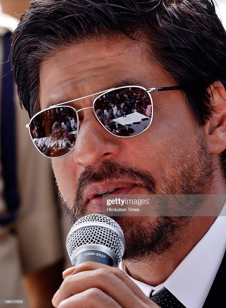 Bollywood actor Shahrukh Khan adressing press conference on September 6, 2012 in Srinagar, India. (Photo by Waseem Andrabi/Hindustan Times via Getty Images)'