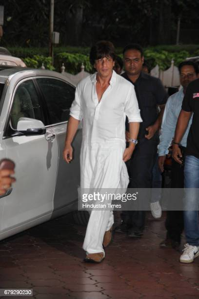 Bollywood actor Shah Rukh Khan during the prayer meeting organised for the late Bollywood veteran Vinod Khanna at Worli on May 3 in New Delhi India...